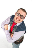 Funny nerd, isolated on white background — Stock Photo