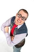 Funny nerd, isolated on white background — Stock Photo