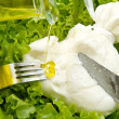 Stock Photo: Burrata on salad