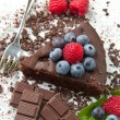 Chocolate cake with fresh berry — Stock Photo