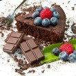Chocolate cake with fresh berry — Zdjęcie stockowe