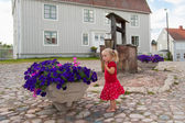 Cute little Swedish girl out exploring — Stock Photo