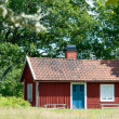 Quaint traditional red Swedish cottage — Stock Photo