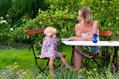 Mother and daughter in the garden — Stock Photo
