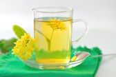 Cup of linden tea and flowers — Stock Photo