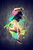 Dancer in retro style with splashes — Stock Photo