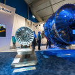 Exhibition by Rolls-Royce of the latest Trent 1000 jet engine at the Farnborough Airshow, UK on July 12, 2012 — Stock Photo #11728348