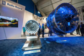 Exhibition by Rolls-Royce of the latest Trent 1000 jet engine at the Farnborough Airshow, UK on July 12, 2012 — Stock Photo