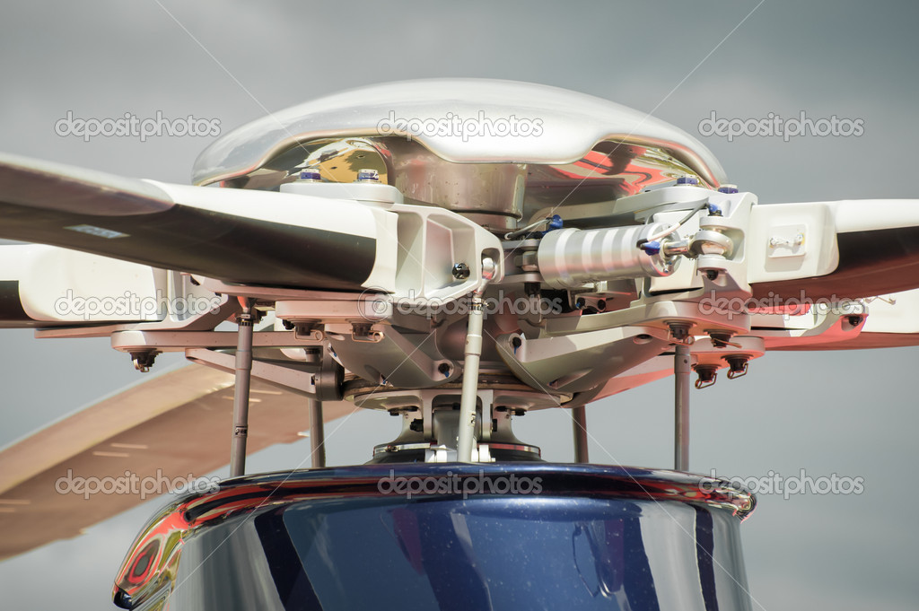 Closeup of a complex helicopter rotor blade assembly — Stock Photo #11888872