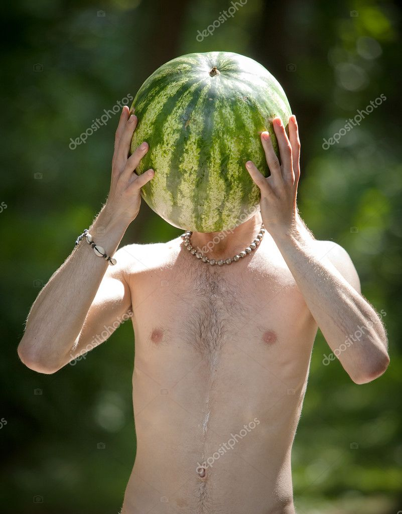 Humorous photo of a boy with a watermelon instead of head — Stock Photo #11339118