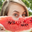 Woman and watermelon — Stock Photo #12172167