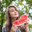 Royalty-Free Stock Photo: Woman and watermelon