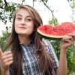 Stock Photo: Woman and watermelon