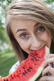 Woman and watermelon — Foto Stock