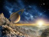 Księżyc saturna — Zdjęcie stockowe