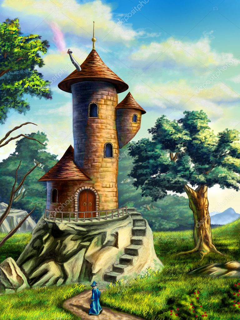 Fantasy landscape with a mage tower. Digital illustration. — Stock Photo #11006785