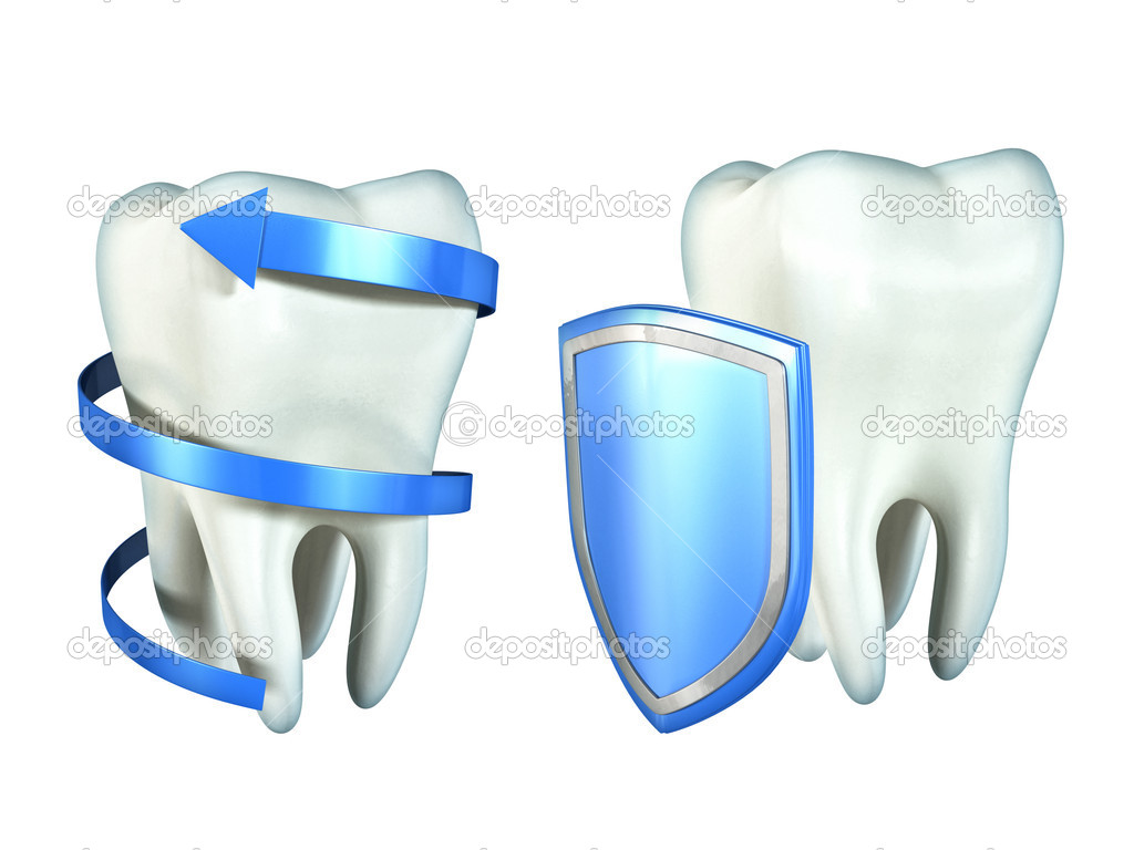 Two molar teeth protected by a spiralling arrow and a shield. Digital illustration, clipping path included. — Stock Photo #11392431