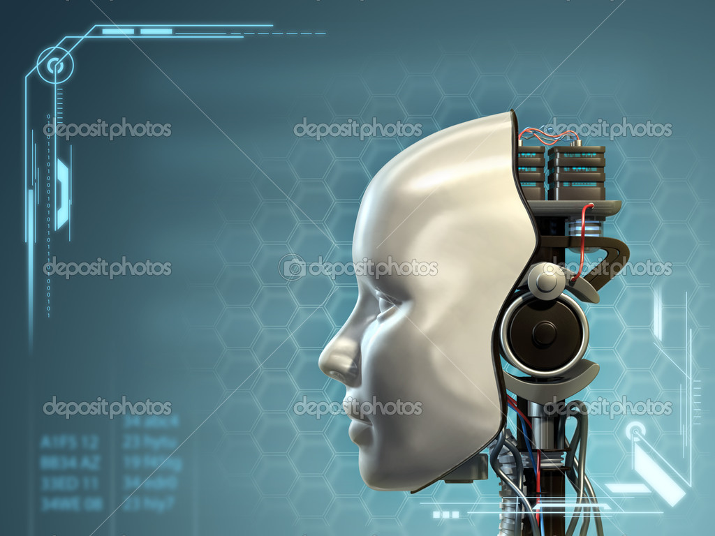 An android has part of his head mask removed, revealing its inner technology. Digital illustration.  Stock Photo #11469291
