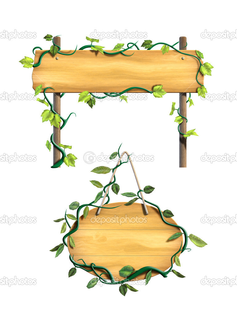 Some wood signs framed by leafy vines. Digital illustration. — Stock Photo #11613341