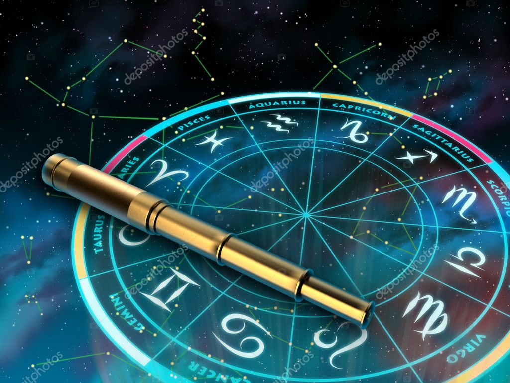 Wheel of the zodiac and telescope over a sky background. Digital illustration. — Stock Photo #11835906