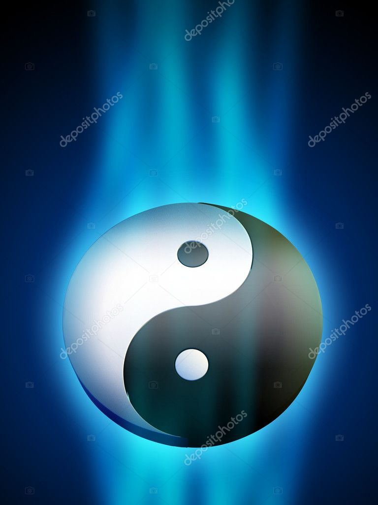Yin Yang symbol in a blue energy stream. Digital illustration.  Stock Photo #12179480
