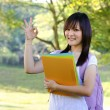 mixed race ok sign college girl standing at campus — Stock Photo
