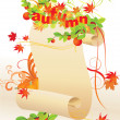 Autumn paper scroll — Stock Vector