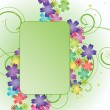 Green abstract vector banner with flowers — Stock Vector
