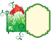 Fairytale vector frame with mushroom and daisy — Stock Vector