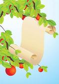 Scroll on apple tree — Stock Vector
