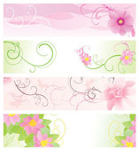 Pink and green floral banners vector — Stock Vector