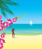 Girl in bikini on summer beach — Stock Vector
