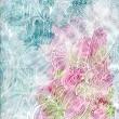 Abstract watercolor with batik-like curves white hand draw - Stock Photo