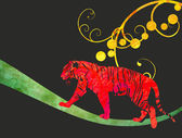 Red watercolor jungle cat (panther or tiger) illustration — Foto de Stock