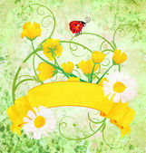 Yellow grunge scroll nature illustration — 图库照片