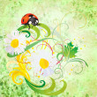 Grunge illustration with ladybird and daisy flowers green vintag - Stock Photo