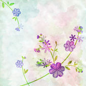 Abstract watercolor blue flowers on green background illustratio — Stock Photo