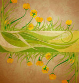 Yellow tulips banner on brown grunge background spring frame — Zdjęcie stockowe