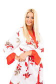 Lady in bathrobe — Stock Photo