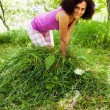 Young woman piling up mowed grass — Stock fotografie