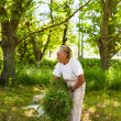 Senior woman piling up mowed grass — Stockfoto