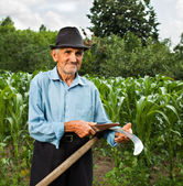 Senior farmer sharpening his scythe — Stock Photo