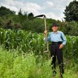 Senior farmer with scythe — Stock Photo #11688719