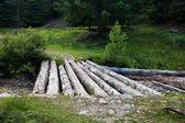 Wooden bridge over a creek — Stock Photo