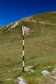 Hiking trail with route signs — Stock Photo
