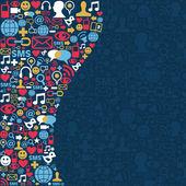 Social-media-netzwerk-ikonen-hintergrund — Stockvektor