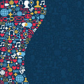 Sociale media netwerk pictogramachtergrond — Stockvector