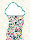 Cloud computing social media network — Stock Vector
