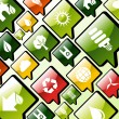 Green environment apps icons background — Stockvectorbeeld