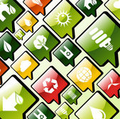 Green environment apps icons background — Stock Vector